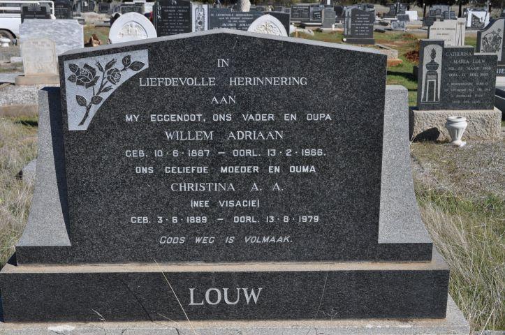 Louw, Willem Adriaan born 10 June 1887 died 13 February 1966 + Christina Nee Visagie born 03 June 1889 died 13 August 1979