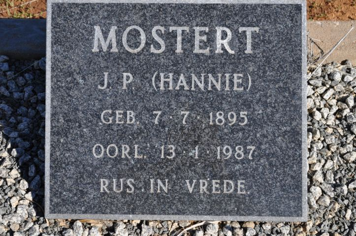 Mostert, Hannie JP born 07 July 1895 died 13 January 1987