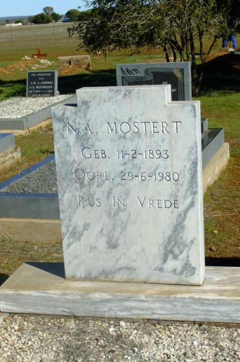Mostert, NA born 11 February 1893 died 29 June 1980