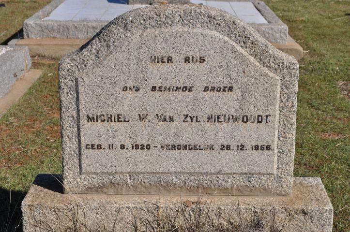 Niewoudt, Michiel W van Zyl born 11 August 1920 died 26 December 1956
