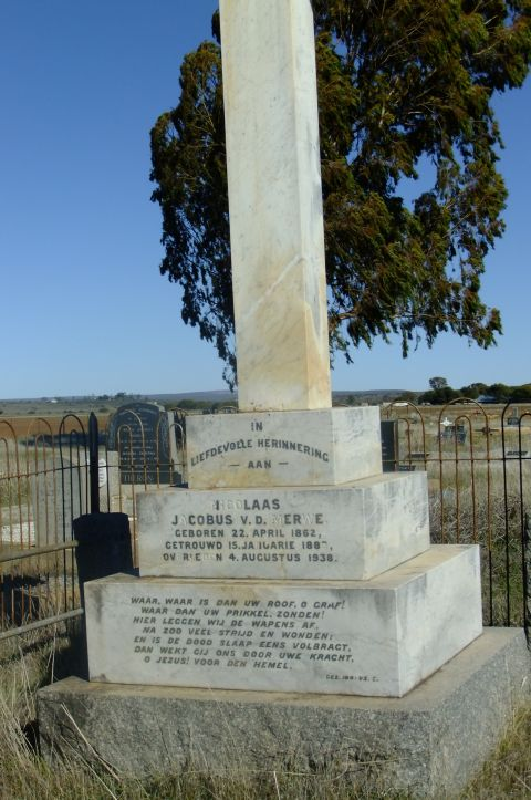 Van der Merwe, Jacobus born 22 April 1862 married 15 January 1883 died 04 August 1938