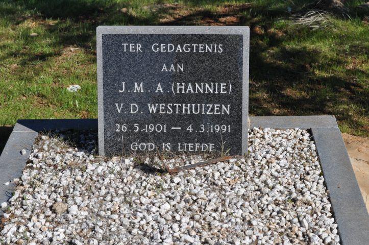 Van der Westhuizen, JMA Hannie born 26 May 1901 died 04 March 1991