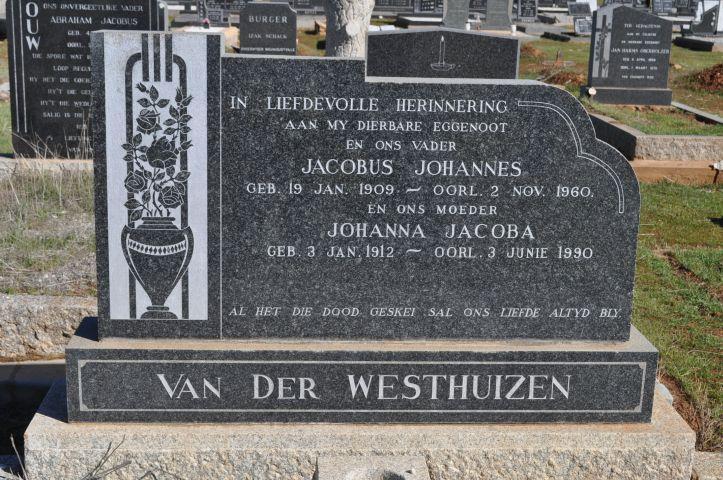 Van der Westhuizen, Jacobus Johannes born 19 January 1909 died 02 November 1960 + Johanna Jacoba born 03 January 1912 died 03 June 1990