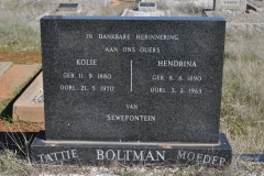 Boltman, Kollie born 11 September 1880 died 21 May 1970 + Hendrina born 08 August 1890 died 03 February 1963 van Sewefontein
