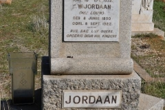 Jordaan, L born 16 October 1836 died 10 September 1932 + CW born Louw 08 June 1850 died 08 September 1922