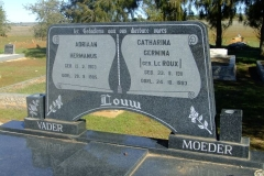Louw, Adriaan Hermanus born 13 February 1903 died 28 September 1985 + Catharina Germina nee Le Roux born 23 September 1911 died 24 October 1993