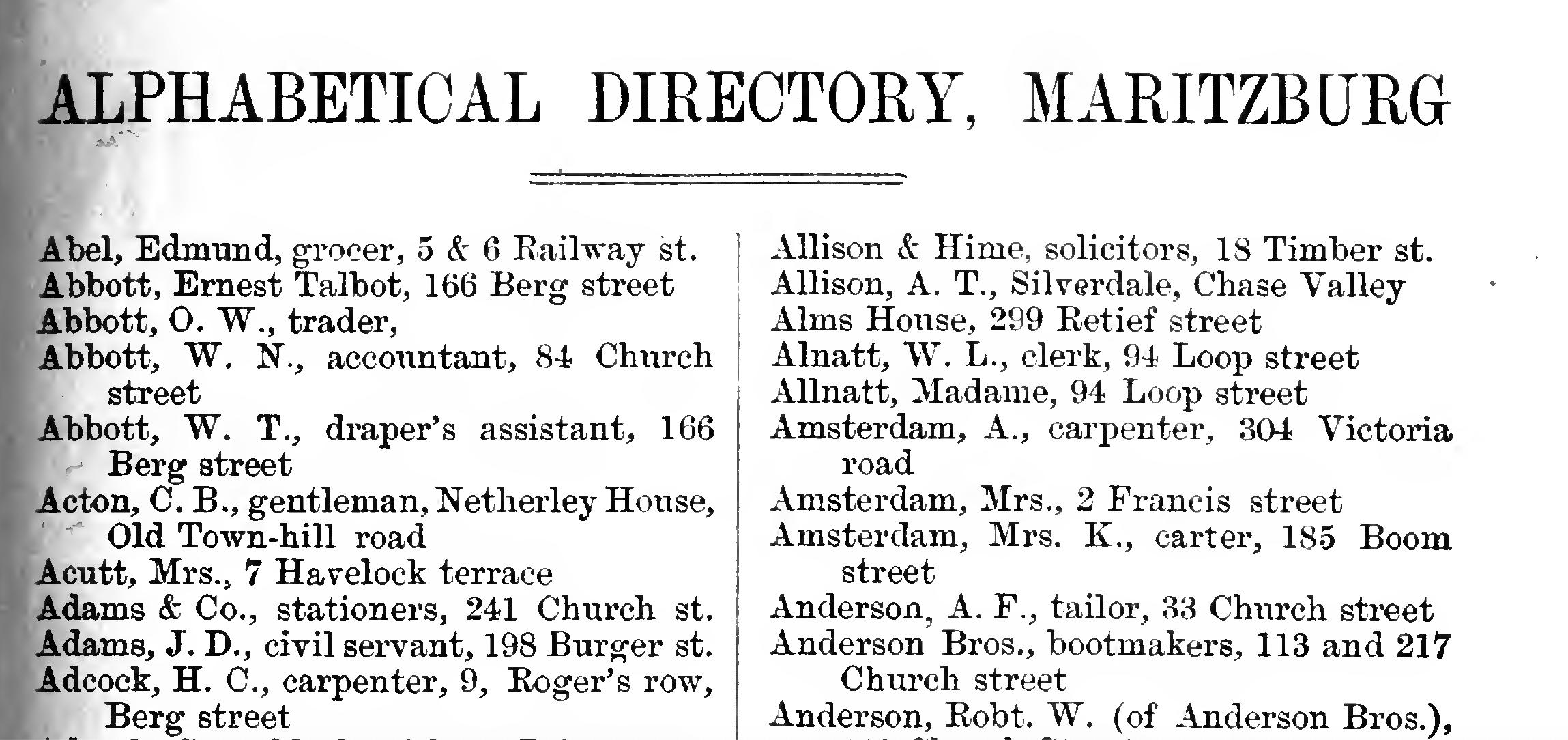Pietermaritzburg Street Directory