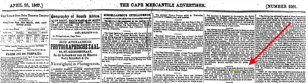 Cape Mercantile Advertiiser 1867
